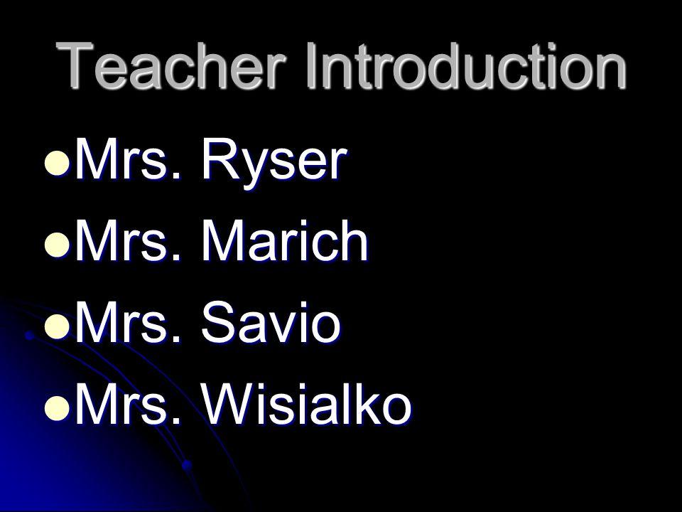 Teacher Introduction Mrs. Ryser Mrs. Ryser Mrs. Marich Mrs.