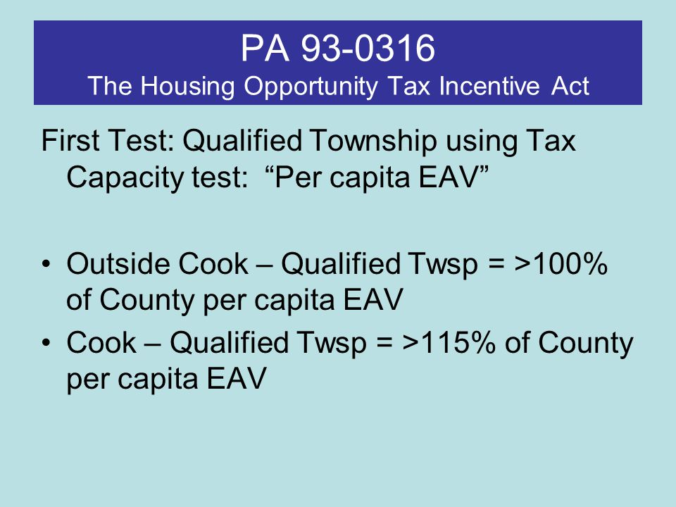 PA 93-0316 The Housing Opportunity Tax Incentive Act Second Test: Identify Low-Poverty Census Tracts: Under 10% Poverty