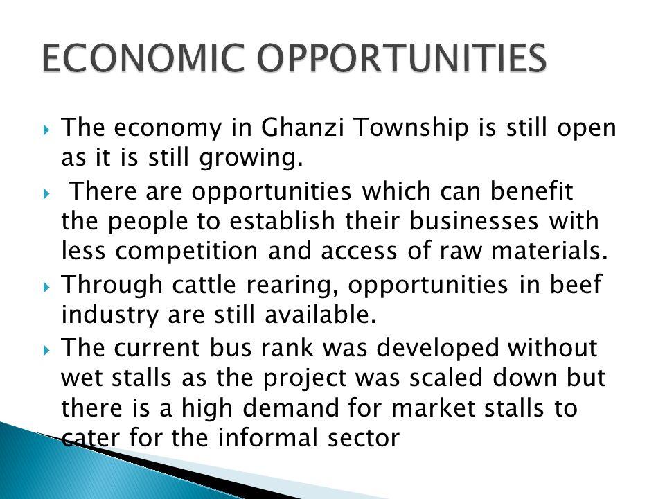  The economy in Ghanzi Township is still open as it is still growing.