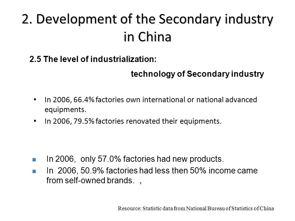 2. Development of the Secondary industry in China In 2006, 66.4% factories own international or national advanced equipments. In 2006, 79.5% factories