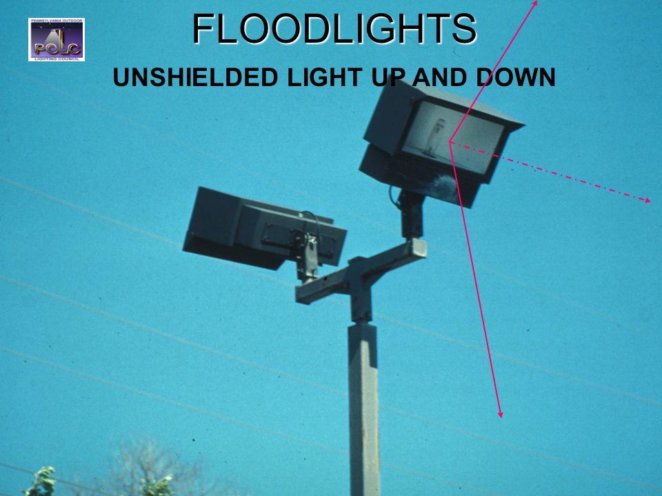 21FLOODLIGHTS UNSHIELDED LIGHT UP AND DOWN