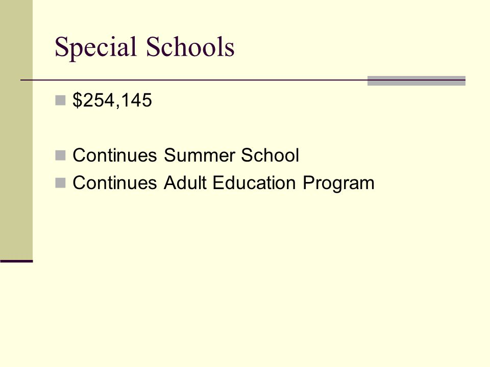 Special Schools $254,145 Continues Summer School Continues Adult Education Program