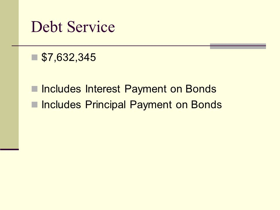 Debt Service $7,632,345 Includes Interest Payment on Bonds Includes Principal Payment on Bonds