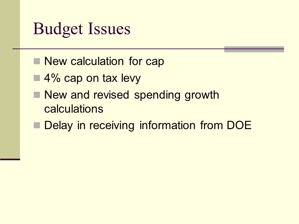 Budget Issues New calculation for cap 4% cap on tax levy New and revised spending growth calculations Delay in receiving information from DOE