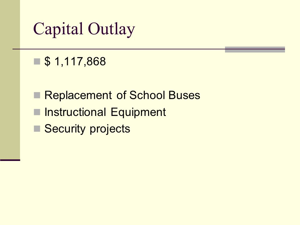Capital Outlay $ 1,117,868 Replacement of School Buses Instructional Equipment Security projects