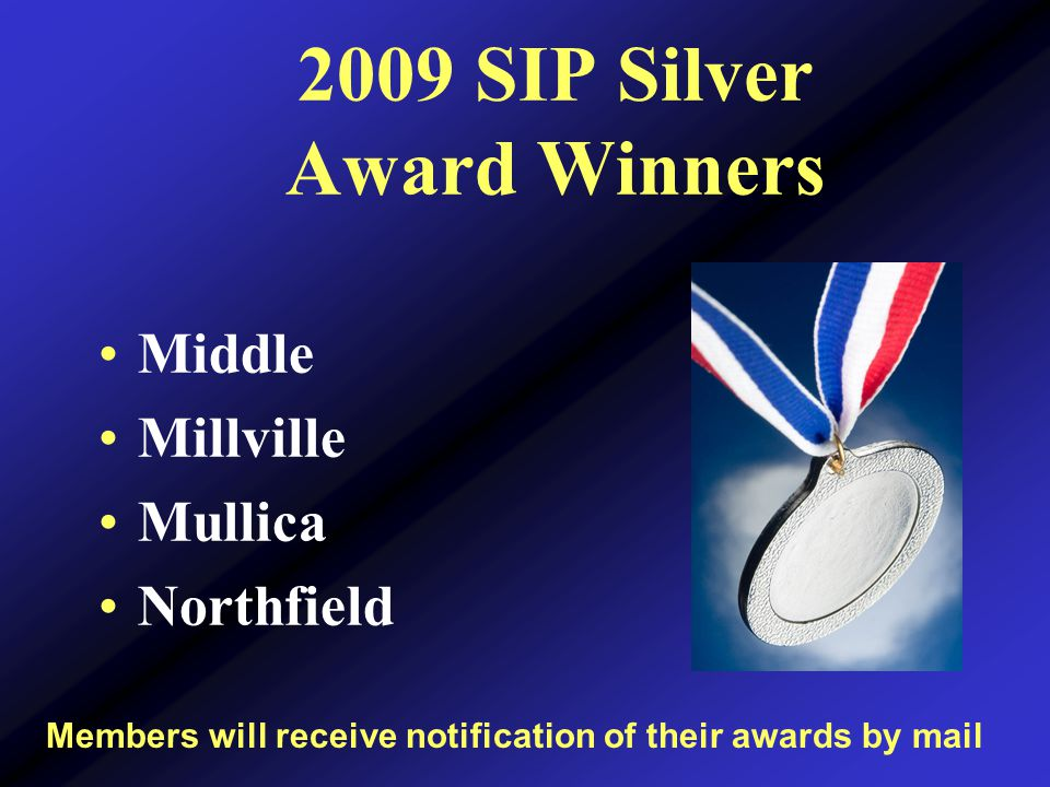 2009 SIP Silver Award Winners Middle Millville Mullica Northfield Members will receive notification of their awards by mail