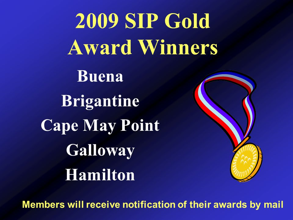 2009 SIP Gold Award Winners Members will receive notification of their awards by mail Buena Brigantine Cape May Point Galloway Hamilton