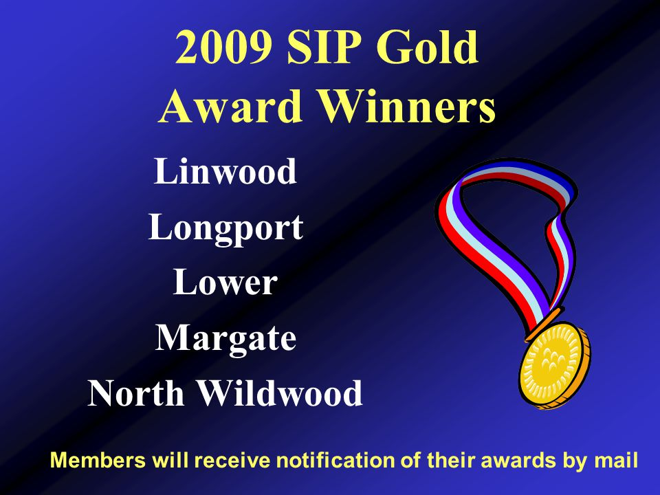 2009 SIP Gold Award Winners Members will receive notification of their awards by mail Linwood Longport Lower Margate North Wildwood
