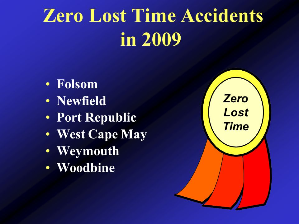 Zero Lost Time Accidents in 2009 Zero Lost Time Folsom Newfield Port Republic West Cape May Weymouth Woodbine