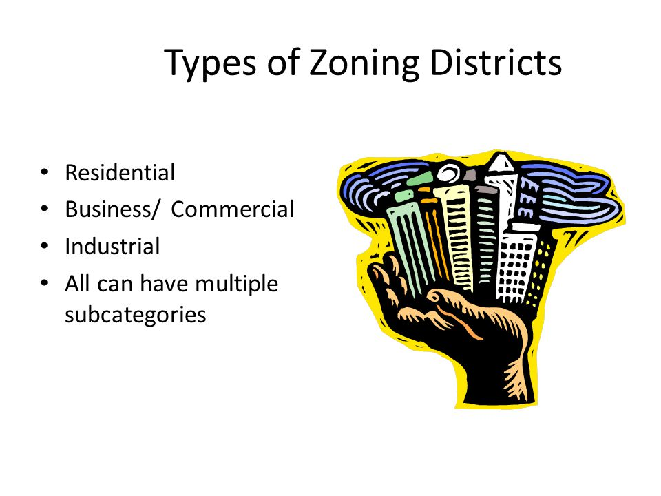 Types of Zoning Districts Residential Business/ Commercial Industrial All can have multiple subcategories