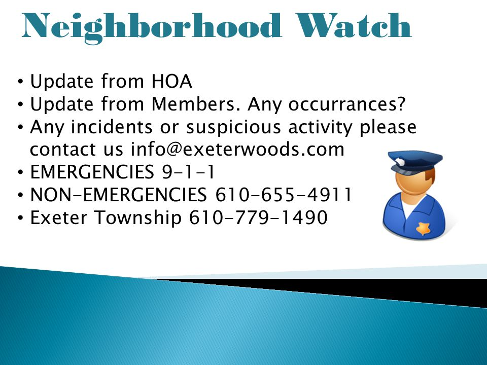 Neighborhood Watch Update from HOA Update from Members.