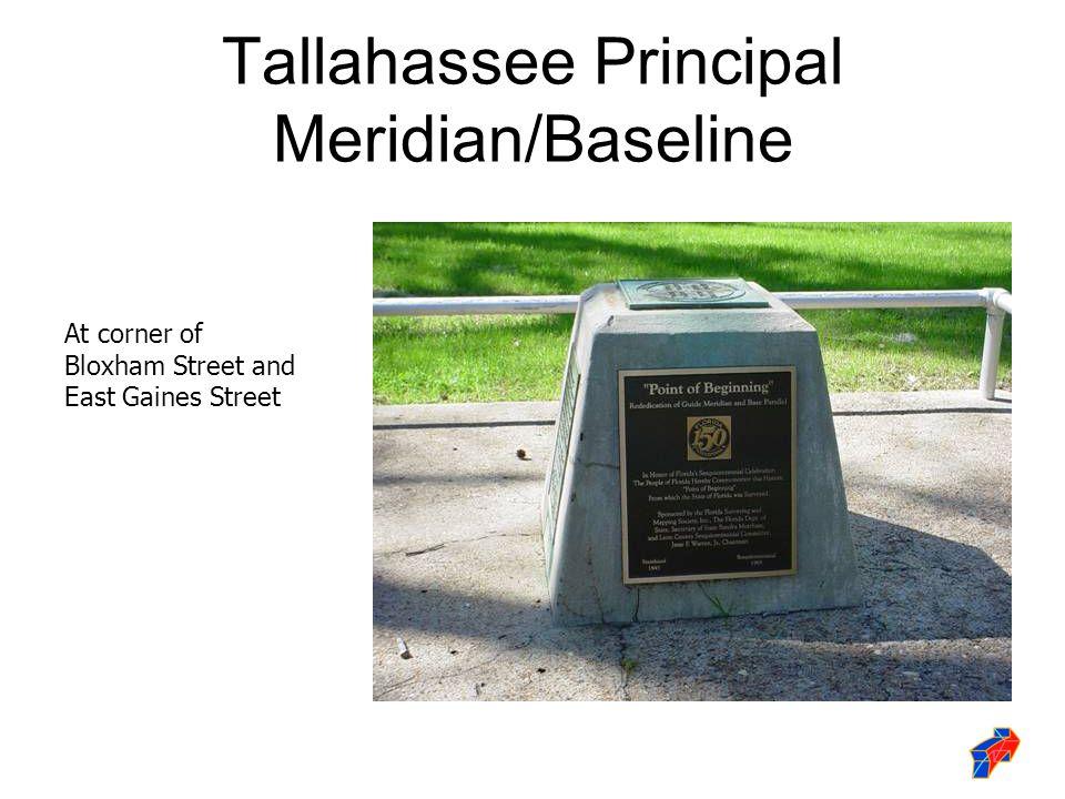Tallahassee Principal Meridian/Baseline At corner of Bloxham Street and East Gaines Street