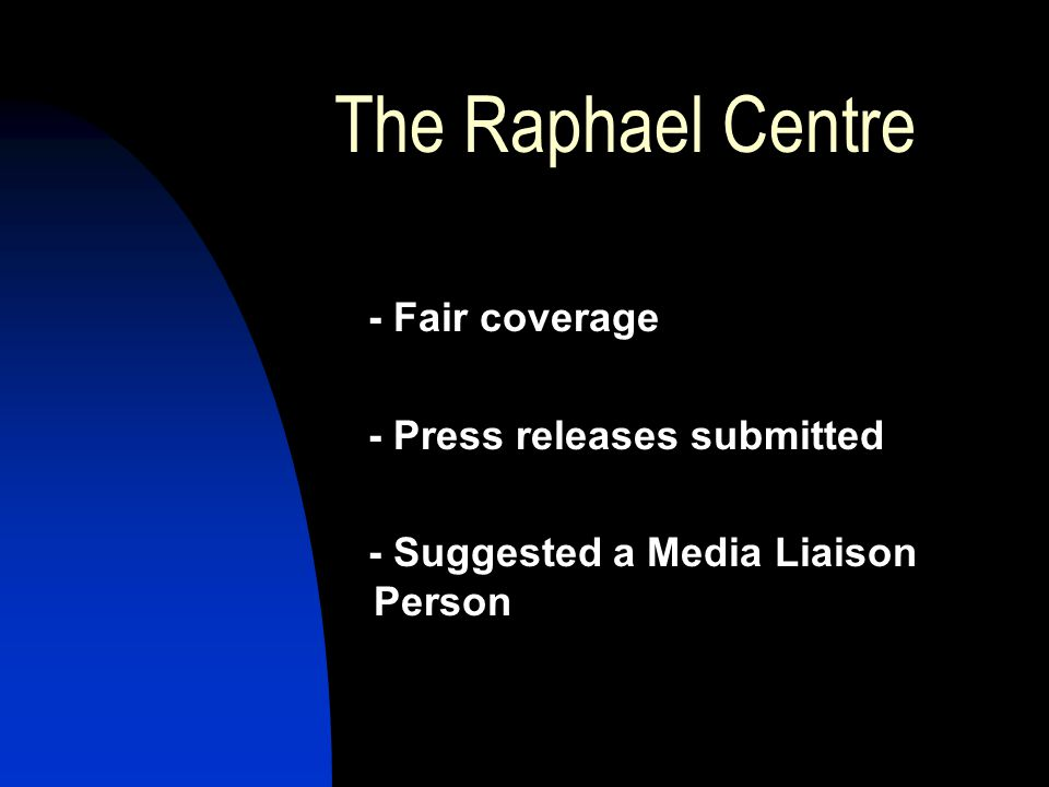 The Raphael Centre - Fair coverage - Press releases submitted - Suggested a Media Liaison Person