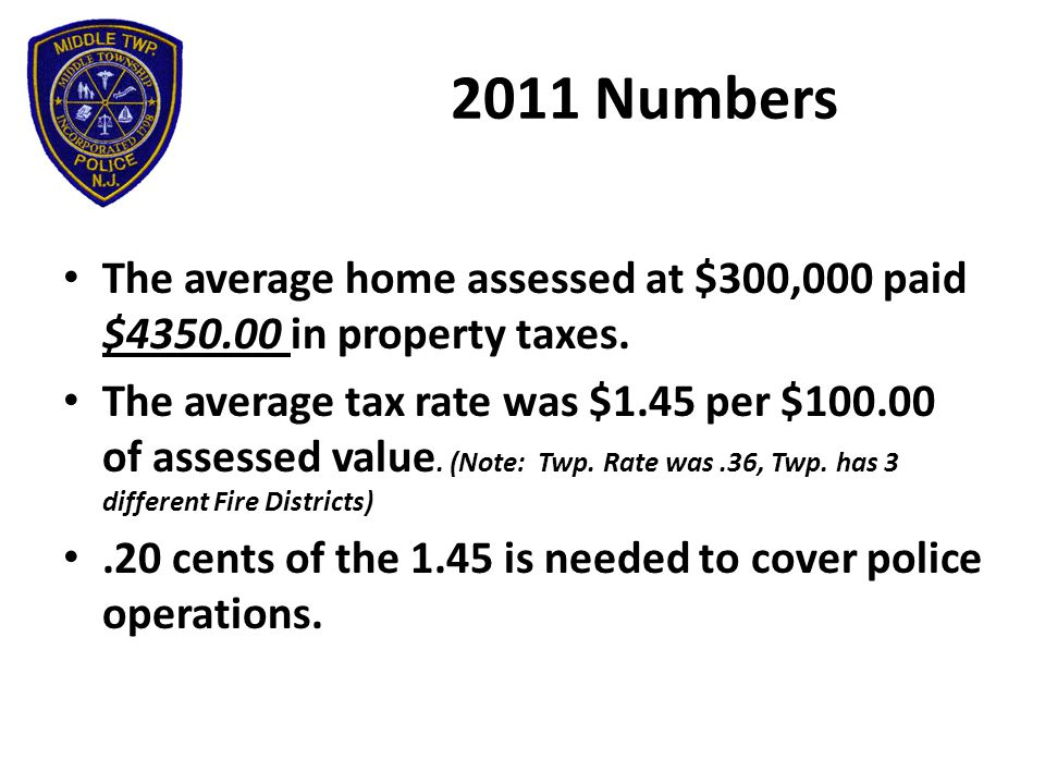 2011 Numbers The average home assessed at $300,000 paid $4350.00 in property taxes.