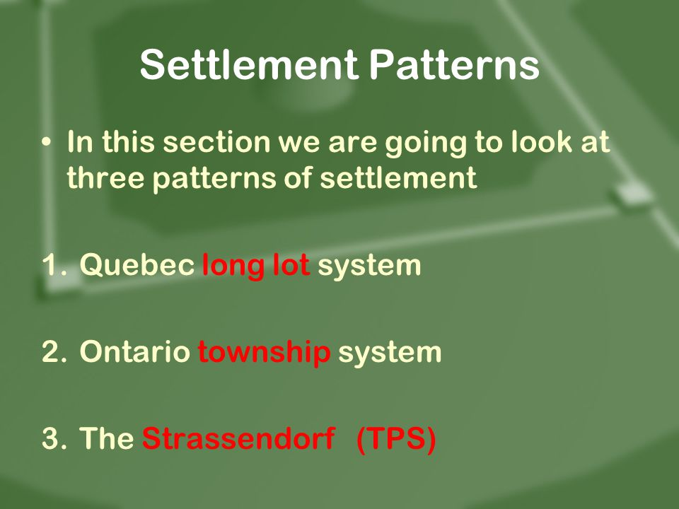 Settlement Patterns In this section we are going to look at three patterns of settlement 1.Quebec long lot system 2.Ontario township system 3.The Stra