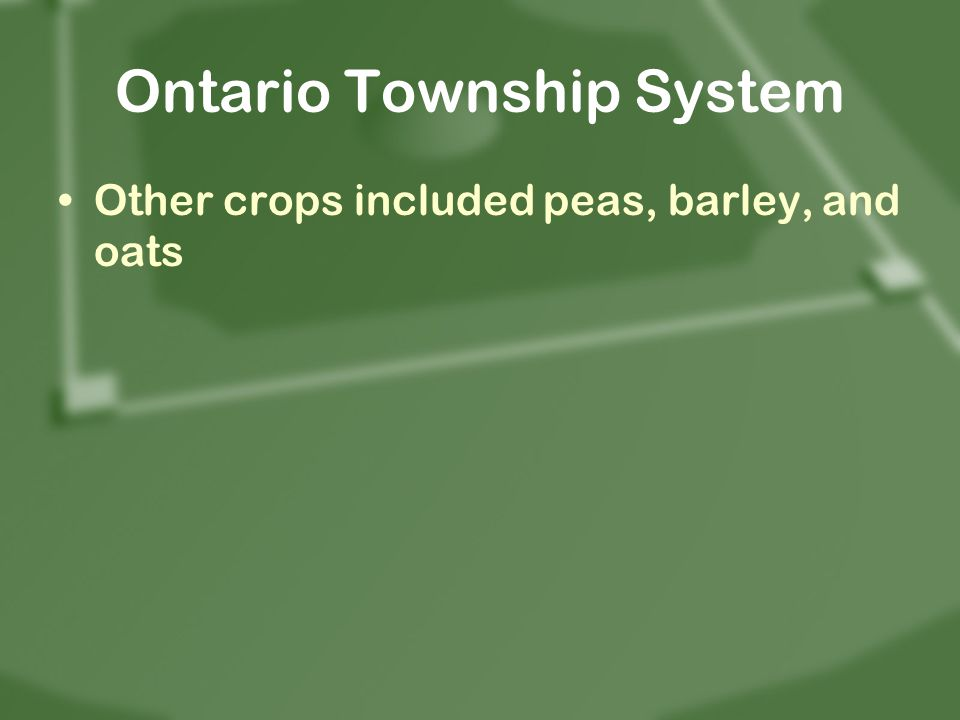 Ontario Township System Other crops included peas, barley, and oats