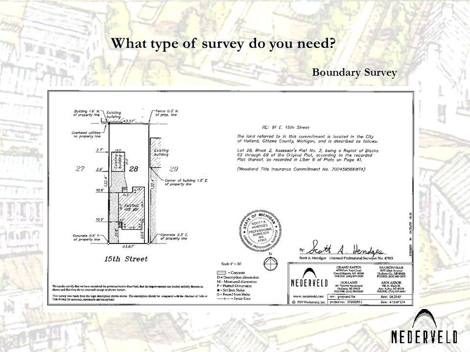 What type of survey do you need? Boundary Survey