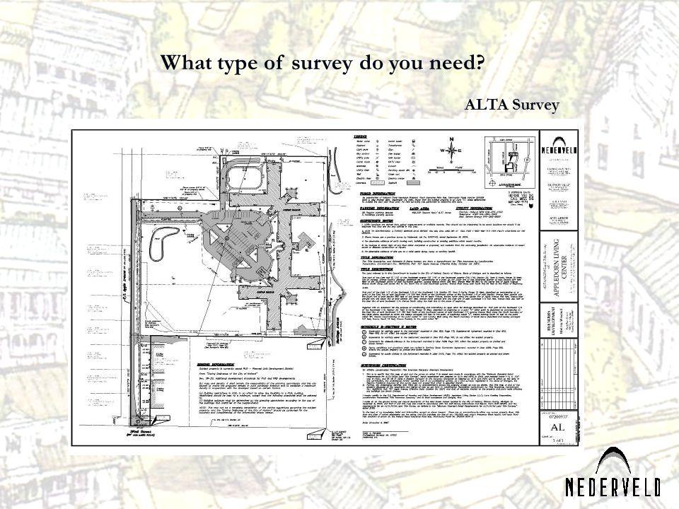 What type of survey do you need? ALTA Survey