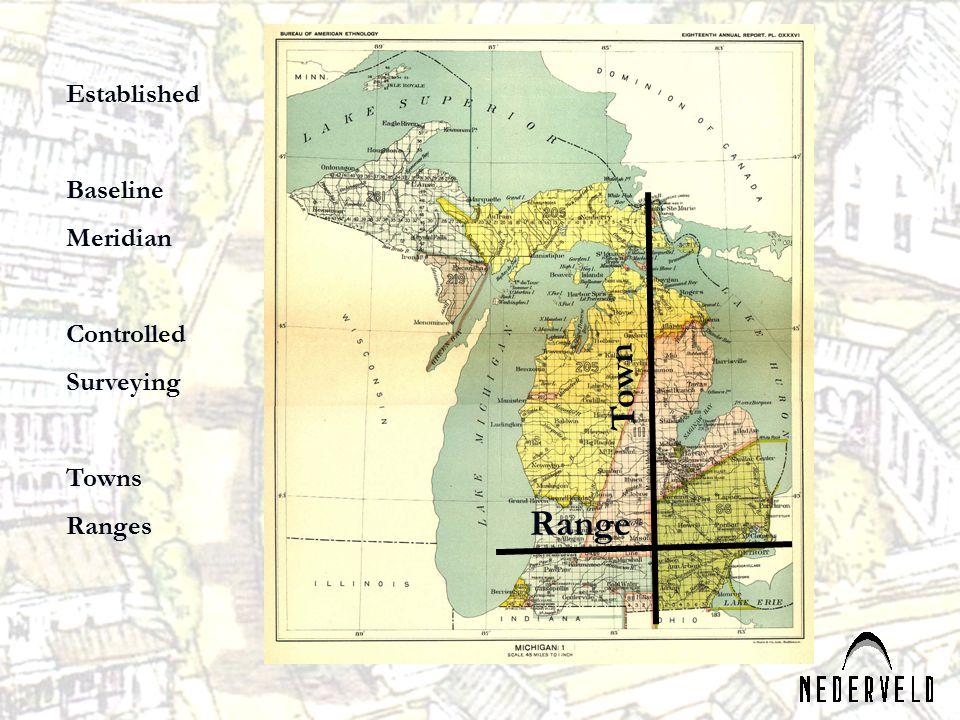 Town Range Established Baseline Meridian Controlled Surveying Towns Ranges