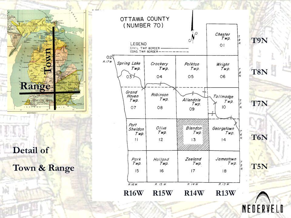 R16WR15WR14WR13W T9N T8N T7N T6N T5N Town Range Detail of Town & Range