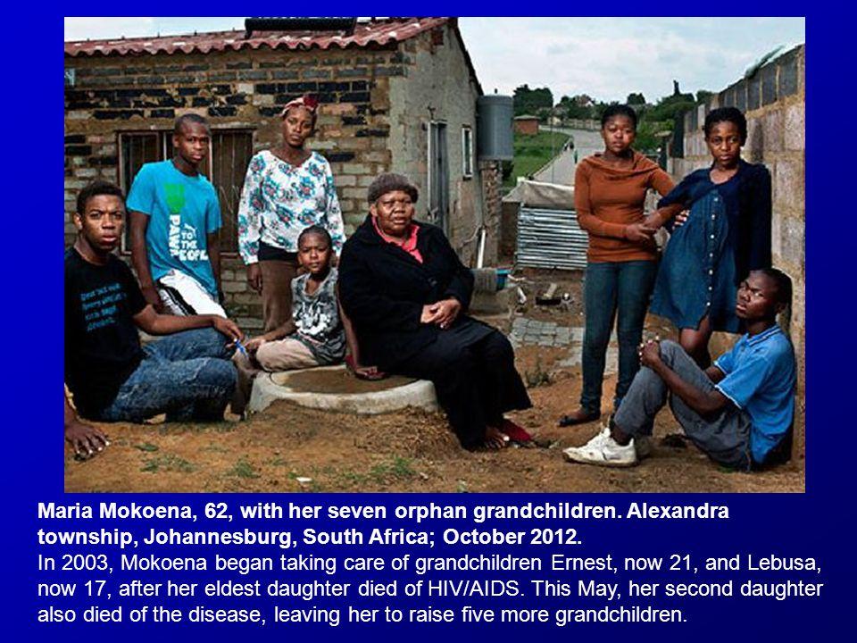 Maria Mokoena, 62, with her seven orphan grandchildren.