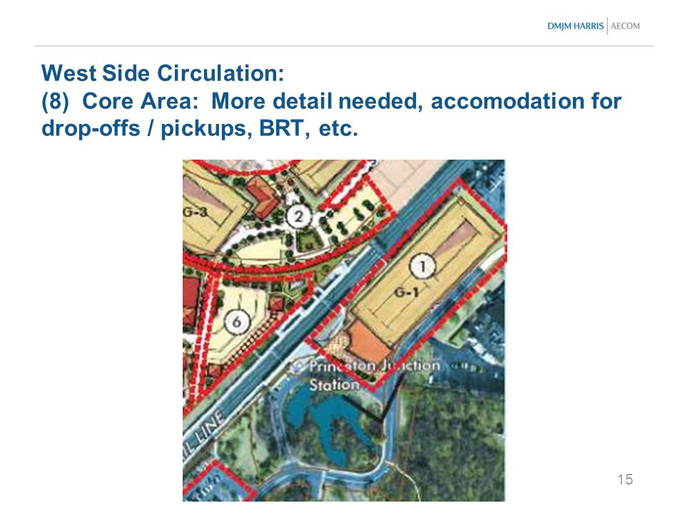 15 West Side Circulation: (8) Core Area: More detail needed, accomodation for drop-offs / pickups, BRT, etc.