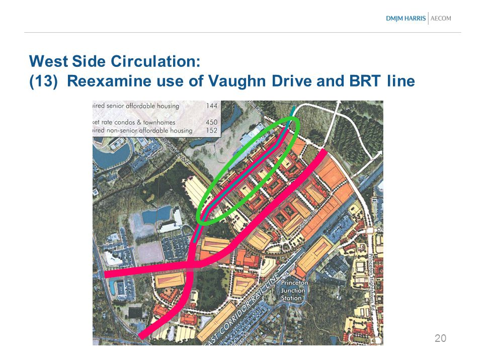 20 West Side Circulation: (13) Reexamine use of Vaughn Drive and BRT line
