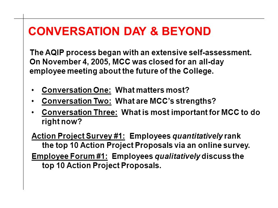 CONVERSATION DAY & BEYOND Conversation One: What matters most? Conversation Two: What are MCC's strengths? Conversation Three: What is most important