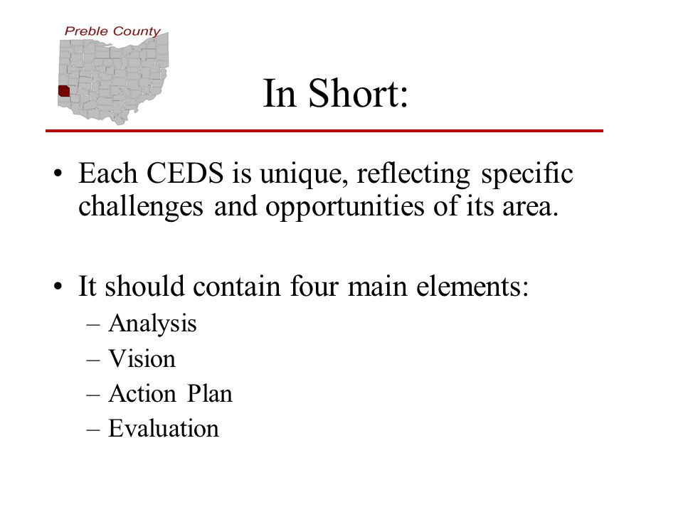 In Short: Each CEDS is unique, reflecting specific challenges and opportunities of its area.