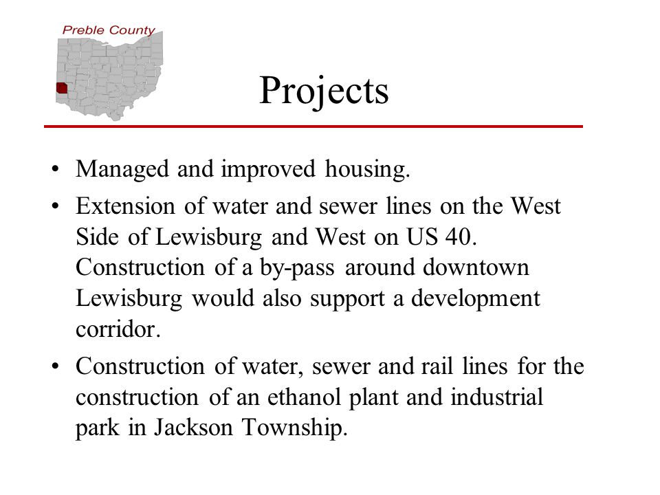 Projects Managed and improved housing.