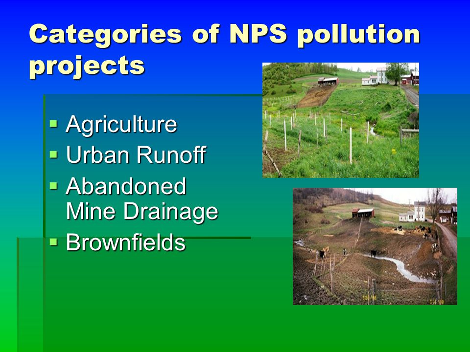 Categories of NPS pollution projects  Agriculture  Urban Runoff  Abandoned Mine Drainage  Brownfields