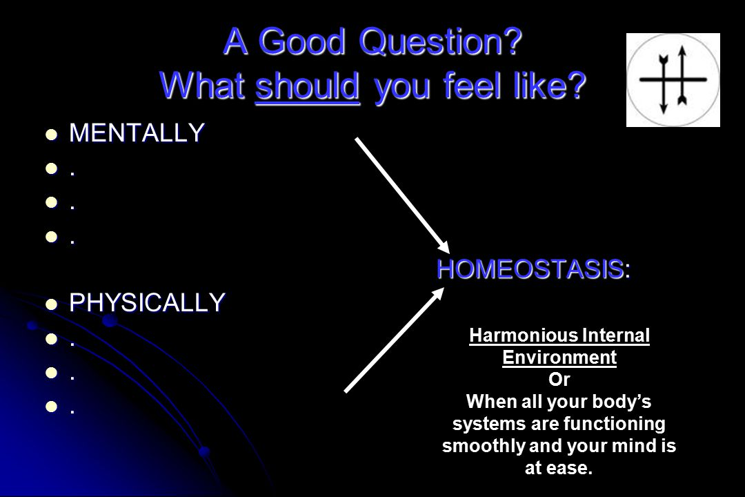 A Good Question? What should you feel like? MENTALLY MENTALLY... HOMEOSTASIS: HOMEOSTASIS: PHYSICALLY PHYSICALLY... Harmonious Internal Environment Or