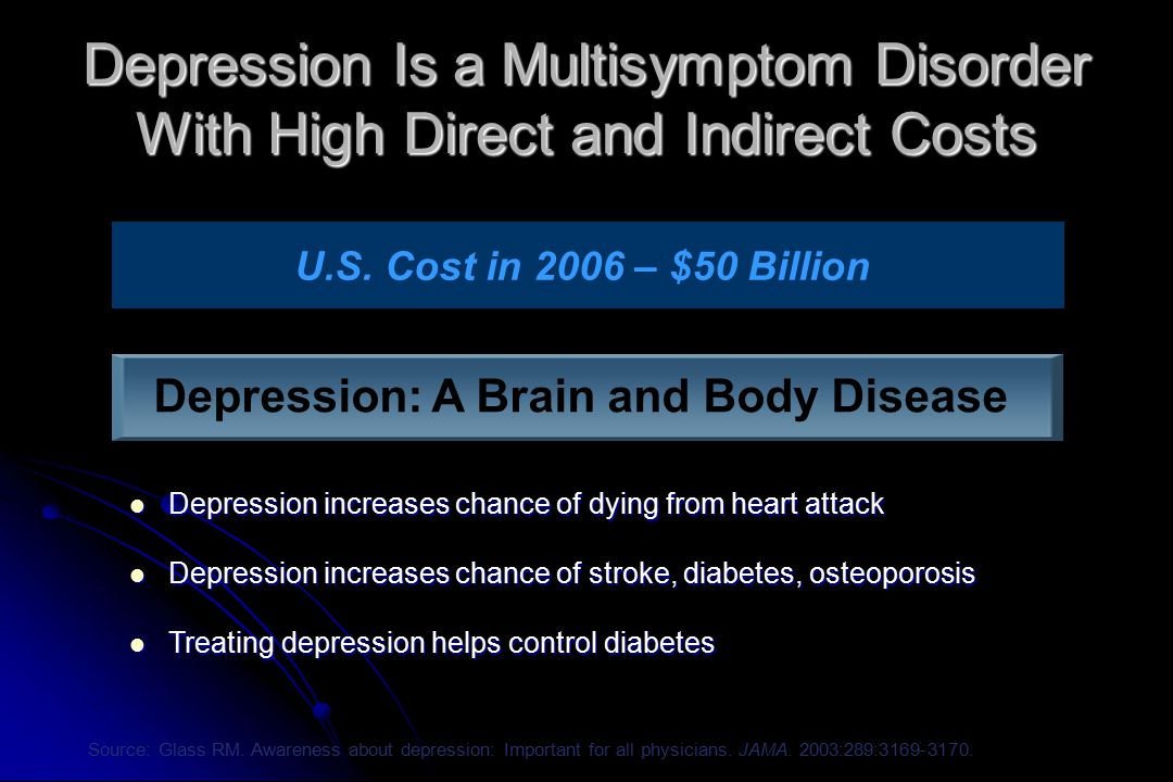Depression Is a Multisymptom Disorder With High Direct and Indirect Costs Depression increases chance of dying from heart attack Depression increases