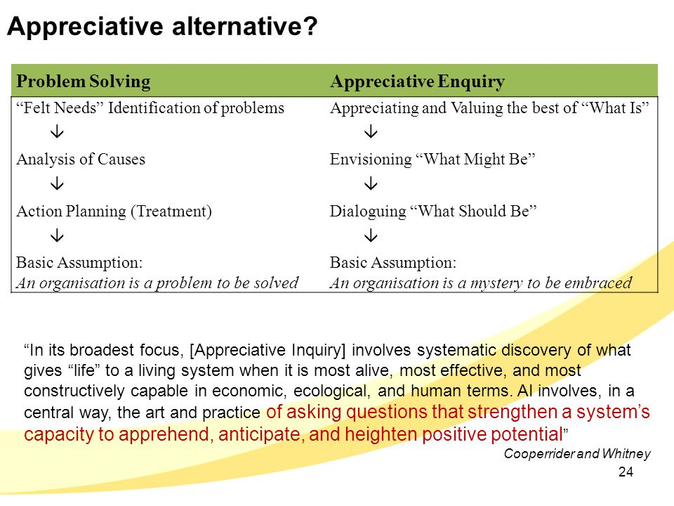 "Appreciative alternative? Problem SolvingAppreciative Enquiry ""Felt Needs"" Identification of problems  Analysis of Causes  Action Planning (Treatmen"