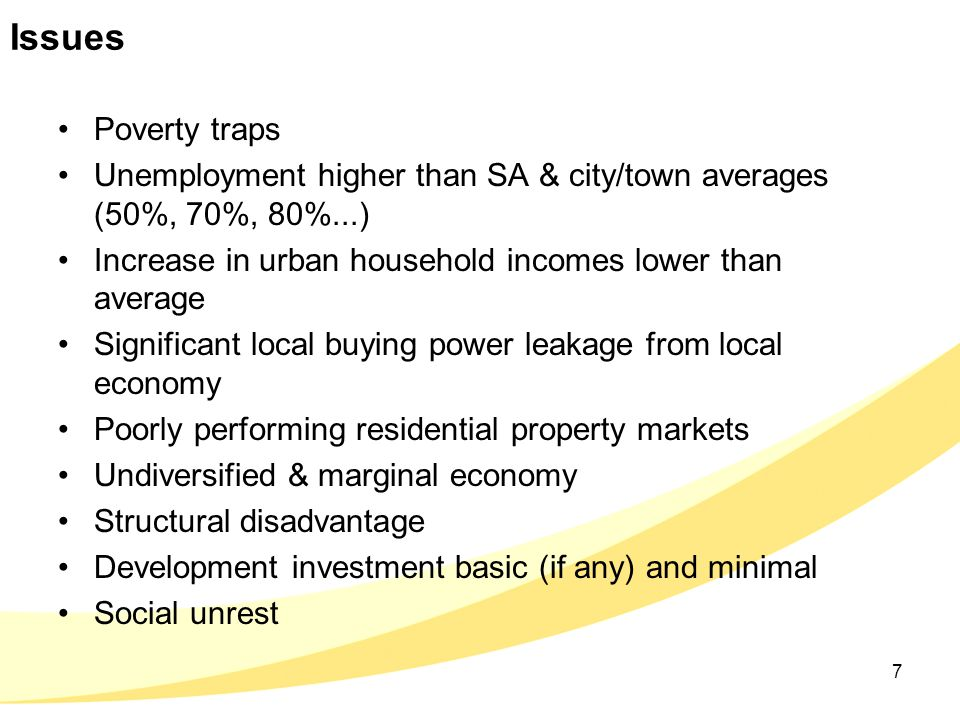 Issues Poverty traps Unemployment higher than SA & city/town averages (50%, 70%, 80%...) Increase in urban household incomes lower than average Signif