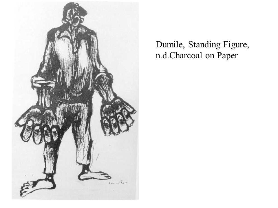 Dumile, Standing Figure, n.d.Charcoal on Paper