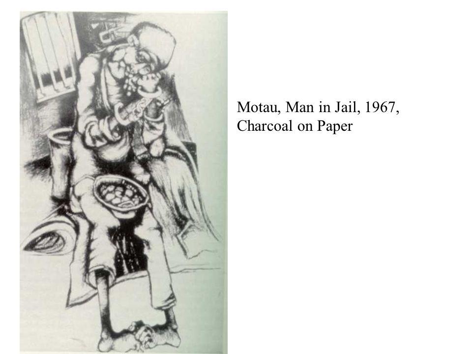 Motau, Man in Jail, 1967, Charcoal on Paper