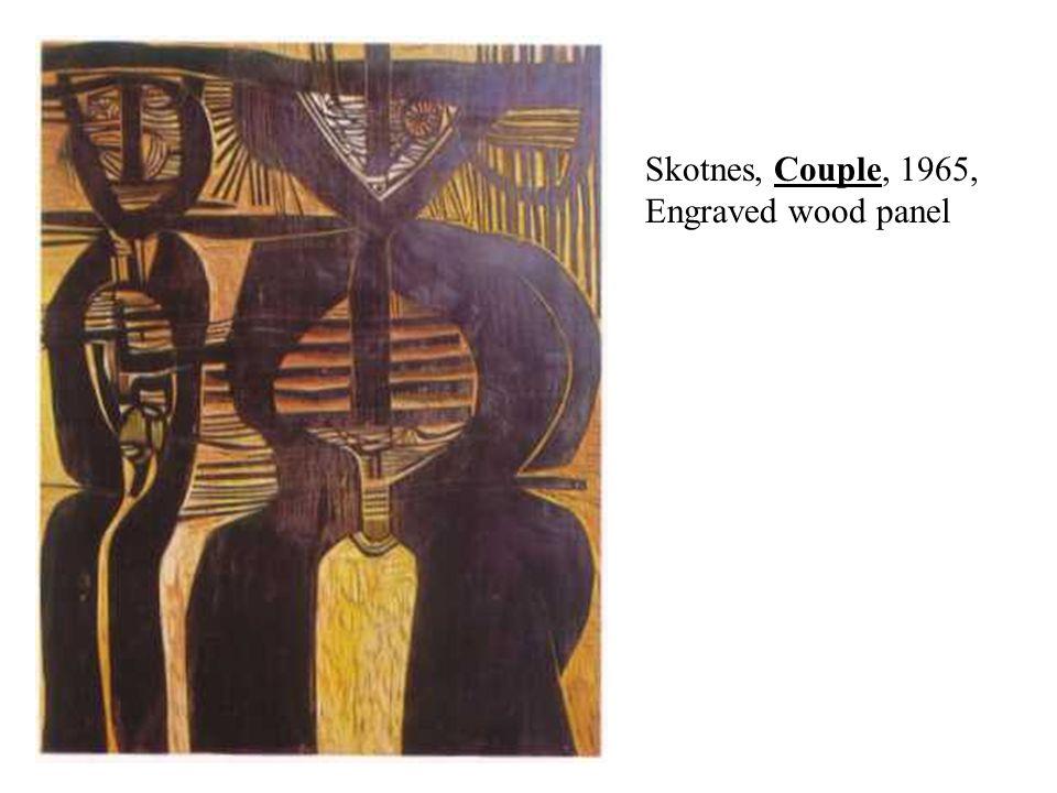 Skotnes, Couple, 1965, Engraved wood panel
