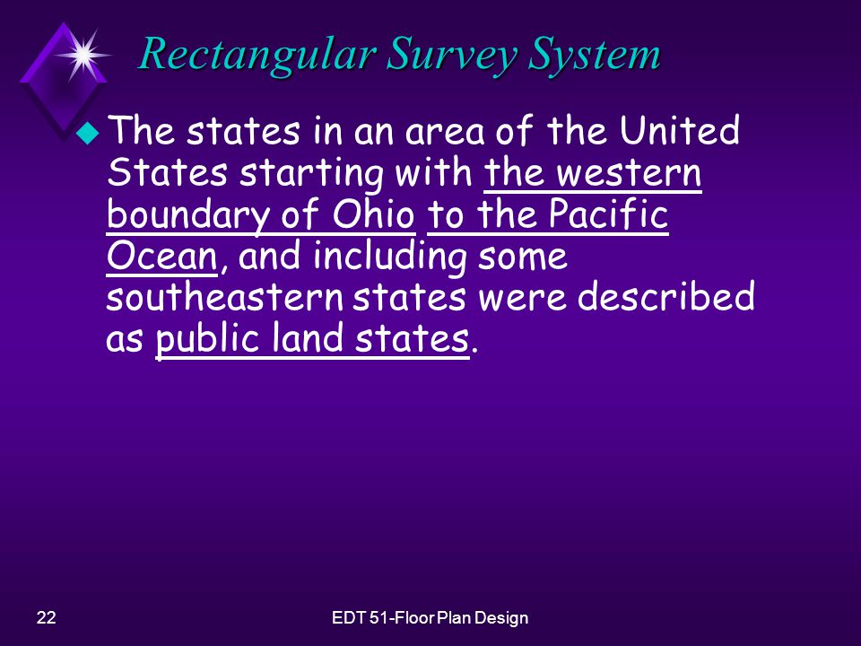 22EDT 51-Floor Plan Design Rectangular Survey System u The states in an area of the United States starting with the western boundary of Ohio to the Pa
