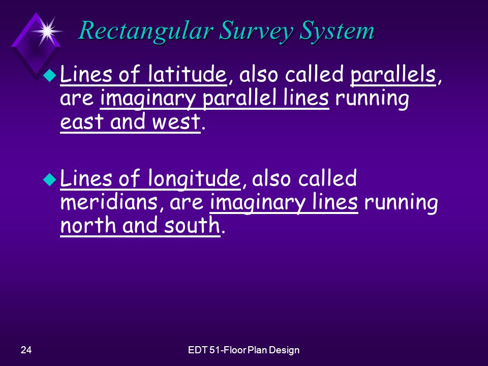 24EDT 51-Floor Plan Design Rectangular Survey System u Lines of latitude, also called parallels, are imaginary parallel lines running east and west.