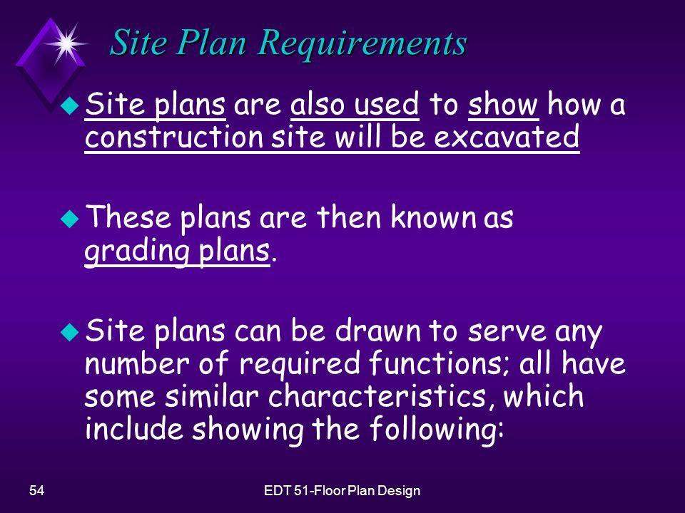 54EDT 51-Floor Plan Design Site Plan Requirements u Site plans are also used to show how a construction site will be excavated u These plans are then known as grading plans.