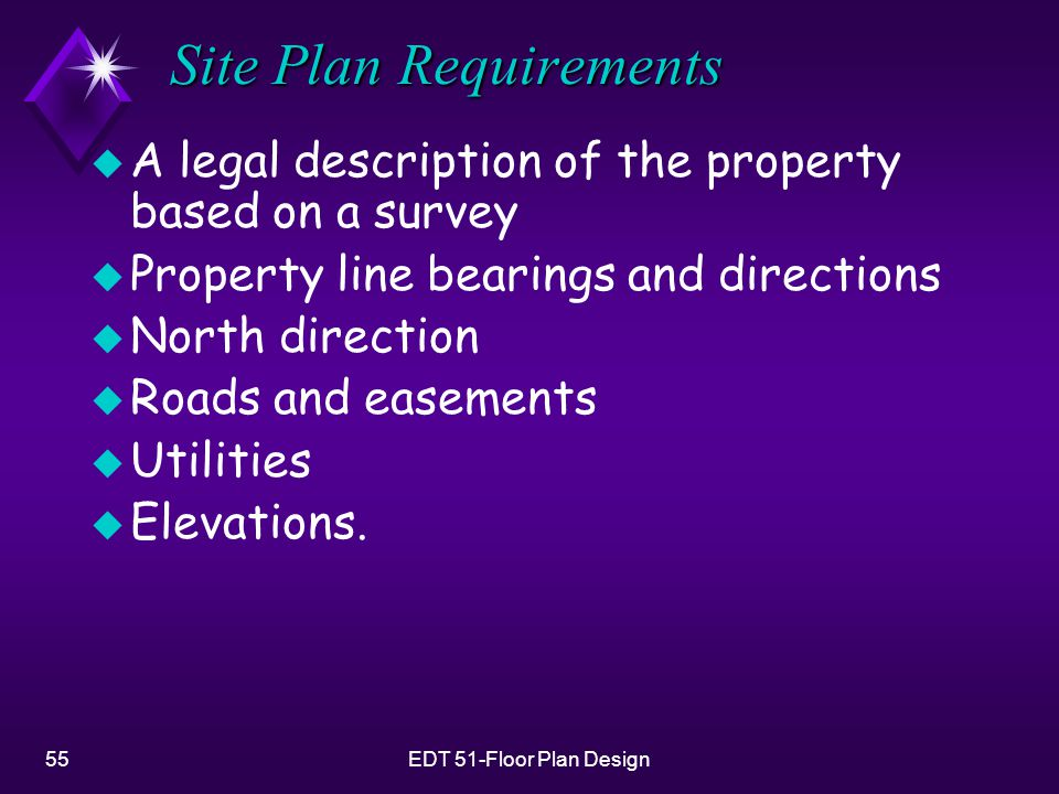 55EDT 51-Floor Plan Design Site Plan Requirements u A legal description of the property based on a survey u Property line bearings and directions u North direction u Roads and easements u Utilities u Elevations.