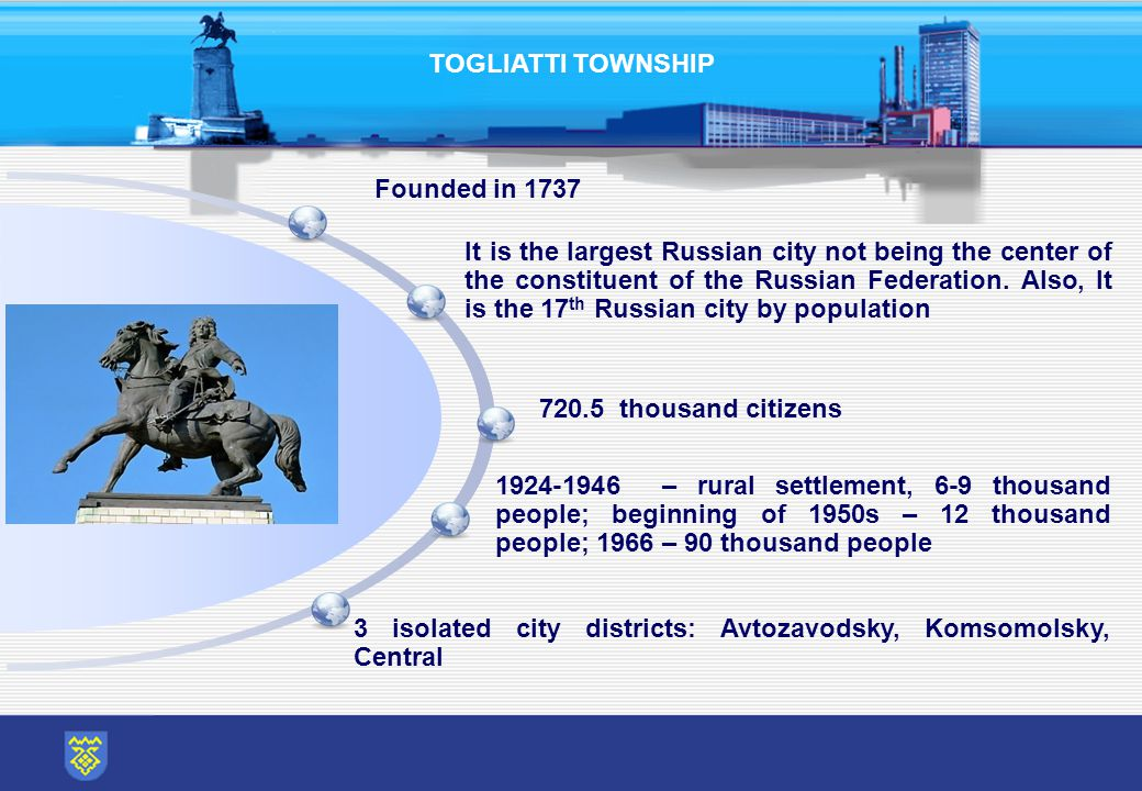 TOGLIATTI TOWNSHIP 1924-1946 – rural settlement, 6-9 thousand people; beginning of 1950s – 12 thousand people; 1966 – 90 thousand people It is the largest Russian city not being the center of the constituent of the Russian Federation.