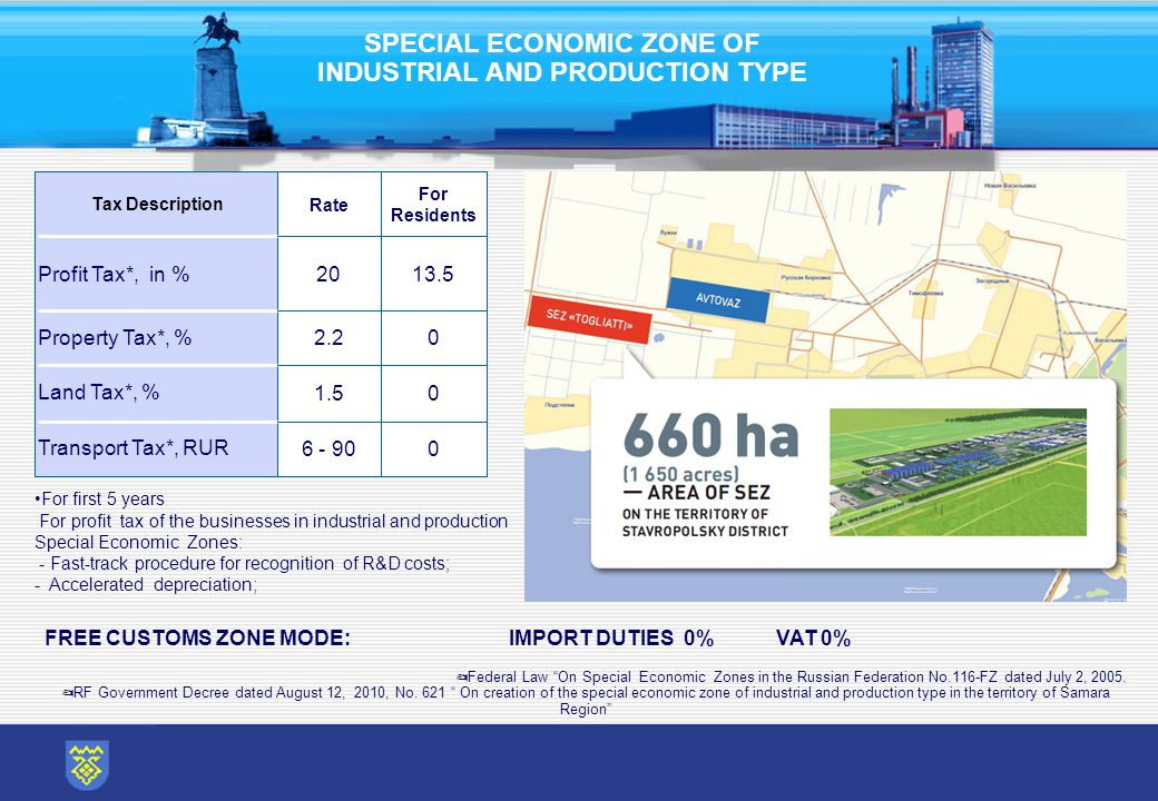 SPECIAL ECONOMIC ZONE OF INDUSTRIAL AND PRODUCTION TYPE ✍ Federal Law On Special Economic Zones in the Russian Federation No.116-FZ dated July 2, 2005.