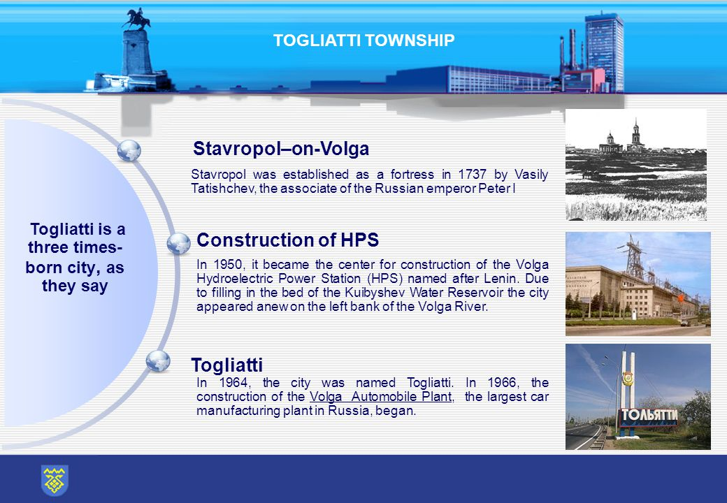 TOGLIATTI TOWNSHIP Construction of HPS Stavropol–on-Volga Togliatti Togliatti is a three times- born city, as they say Stavropol was established as a fortress in 1737 by Vasily Tatishchev, the associate of the Russian emperor Peter I In 1950, it became the center for construction of the Volga Hydroelectric Power Station (HPS) named after Lenin.
