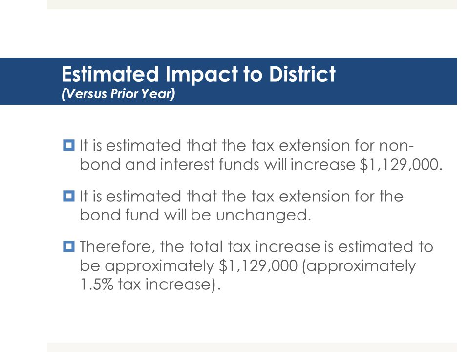 Estimated Impact to District (Versus Prior Year)  It is estimated that the tax extension for non- bond and interest funds will increase $1,129,000.