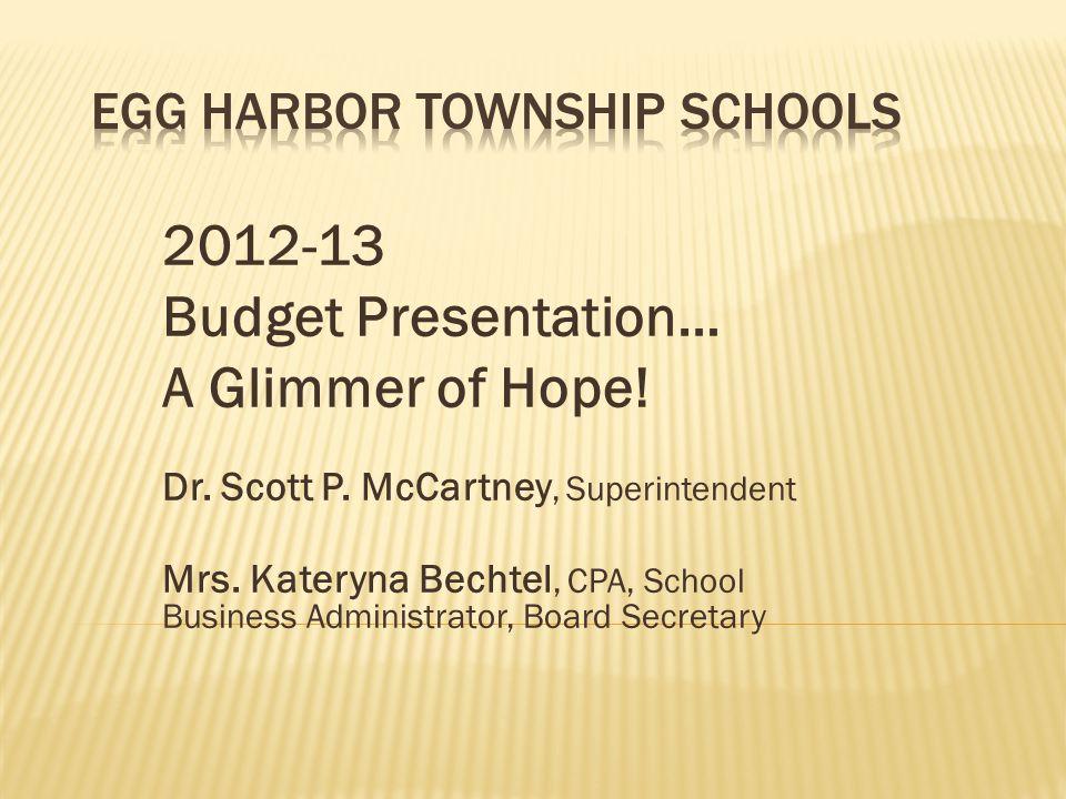 2012-13 Budget Presentation… A Glimmer of Hope. Dr.