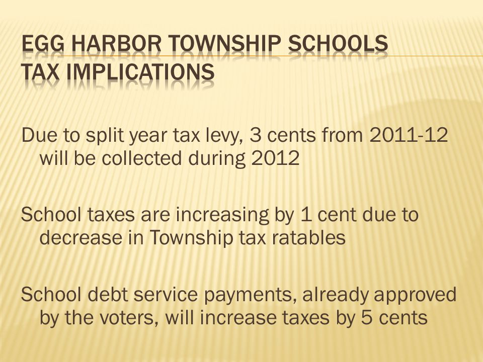 Due to split year tax levy, 3 cents from 2011-12 will be collected during 2012 School taxes are increasing by 1 cent due to decrease in Township tax ratables School debt service payments, already approved by the voters, will increase taxes by 5 cents