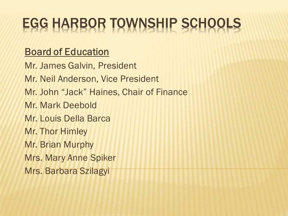 Board of Education Mr. James Galvin, President Mr.