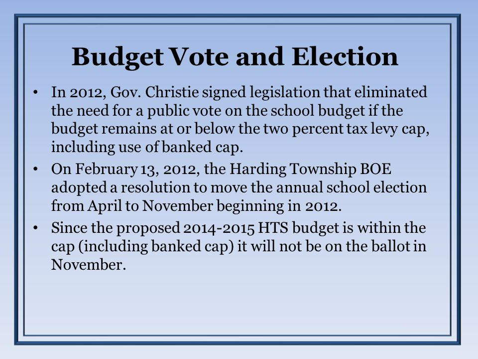 Budget Vote and Election In 2012, Gov.